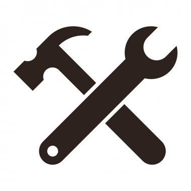 Wrench and hammer. Tools icon isolated on white background stock vector