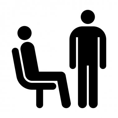 Seating and standing man. Waiting room symbol