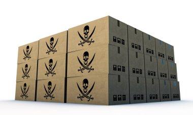 Cardbord boxes with pirates skull