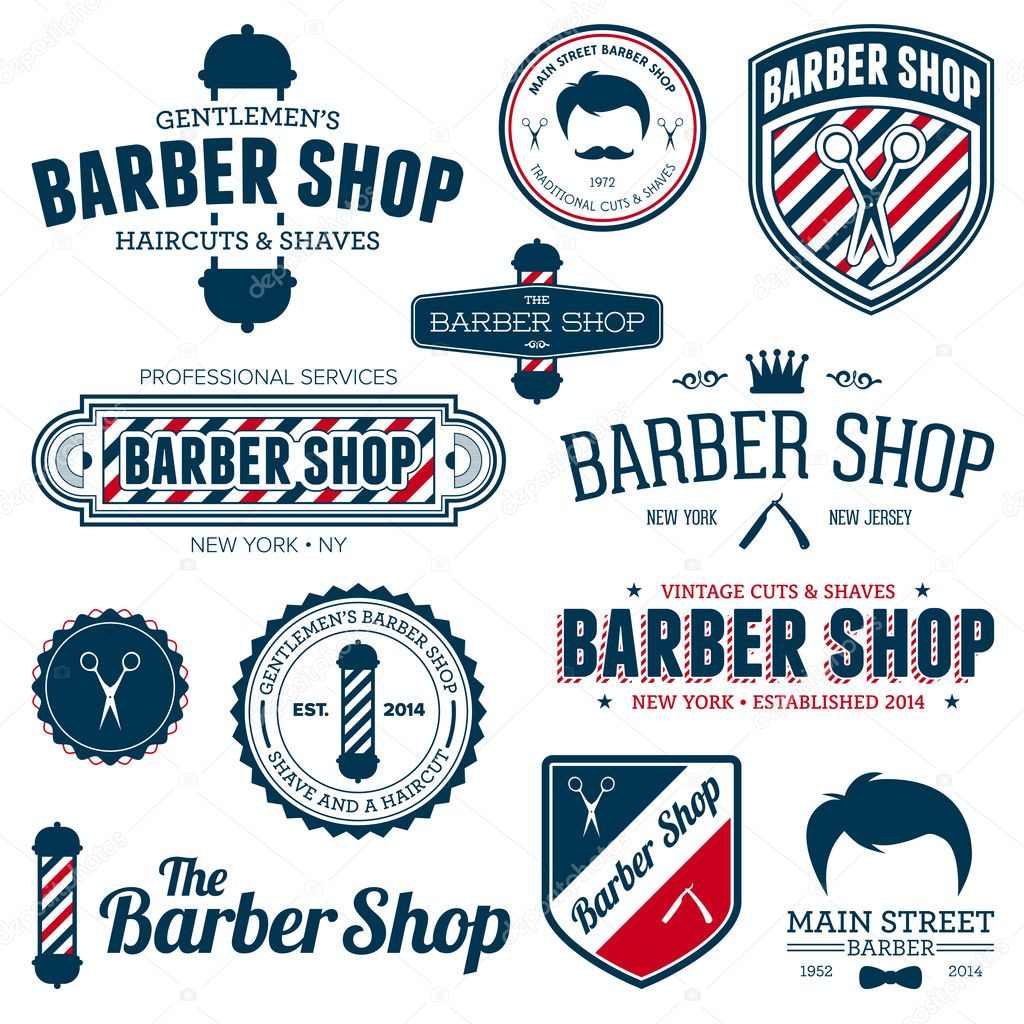 Antique barber shop signs - Set Of Vintage Barber Shop Graphics And Icons Vector By Emberstock