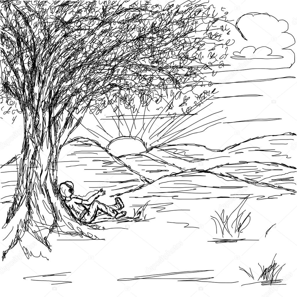 Pencil Scenery Of Sunset Coloring Pages
