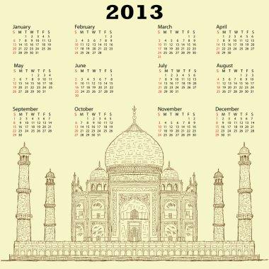 Taj mahal vintage 2013 calendar