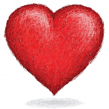 Artistic hand drawn sketch of huge elegant heart made of red tone lines. clip art vector