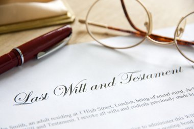 Last Will and Testament concept image complete with spectacles and pen stock vector