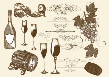 Hand drawn vector set wine and winemaking elements