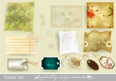 Elegant scrapbooking set old paper textures and tags
