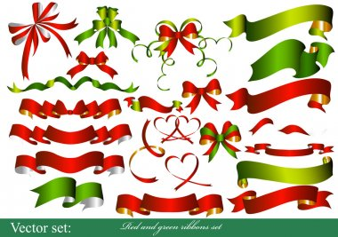 Collection of red and green ribbons for design