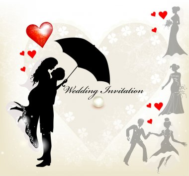 Design of wedding invitation with silhouette of cute couple and