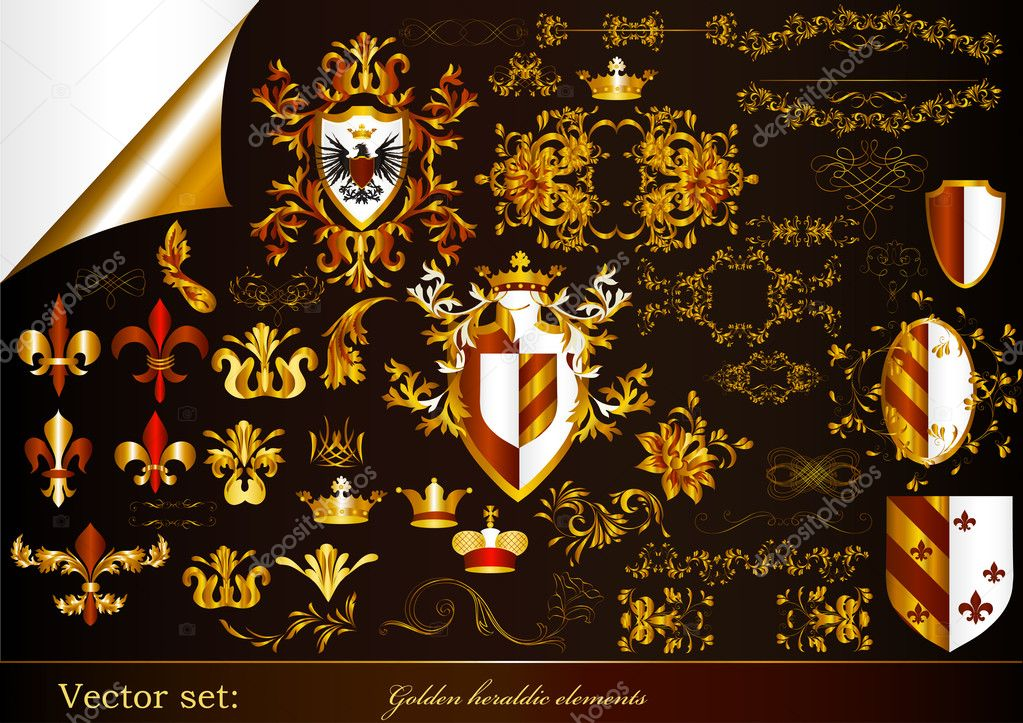 Collection of golden heraldic design elements in luxury style