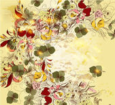 Hand drawn floral background in vintage style