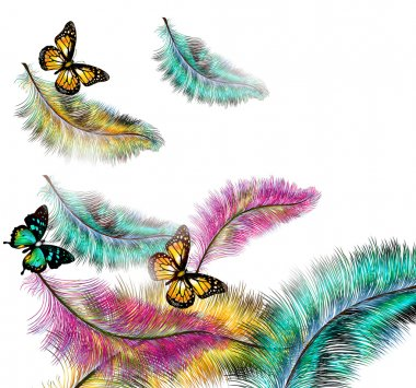 Colorful vector background with ferns and butterflies