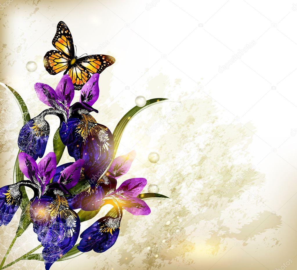 Cute grunge floral background with blue iris