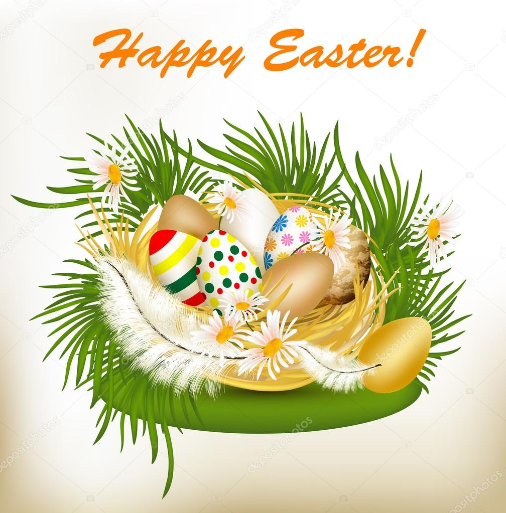 Easter Greeting Card With Colorful Eggs Green Grass And Nest