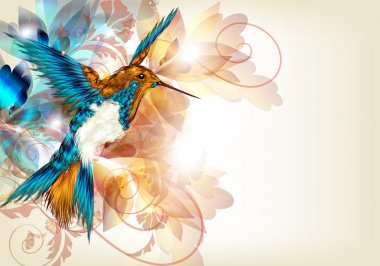 Colorful vector design with realistic hummingbird and floral o