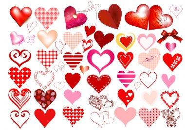 Collection of vector hearts for design clip art vector