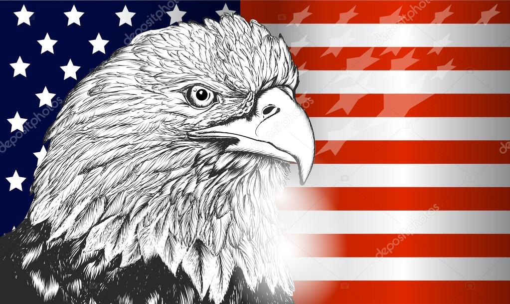 American Flag And Eagle Symbol Of Usa Independence And Freedom