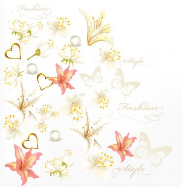 Fashion style background with flowers, pears on white