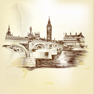 Antique vector postcard with hand drawn London bridge in sepia