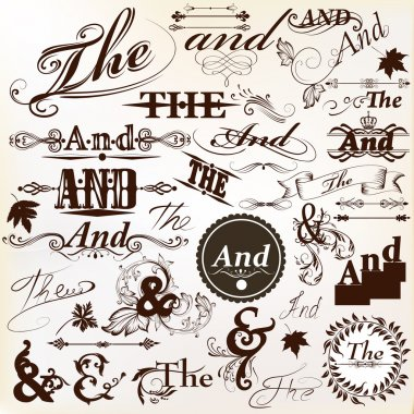 Collection of ornate vector Ands and thes perfect for headlines