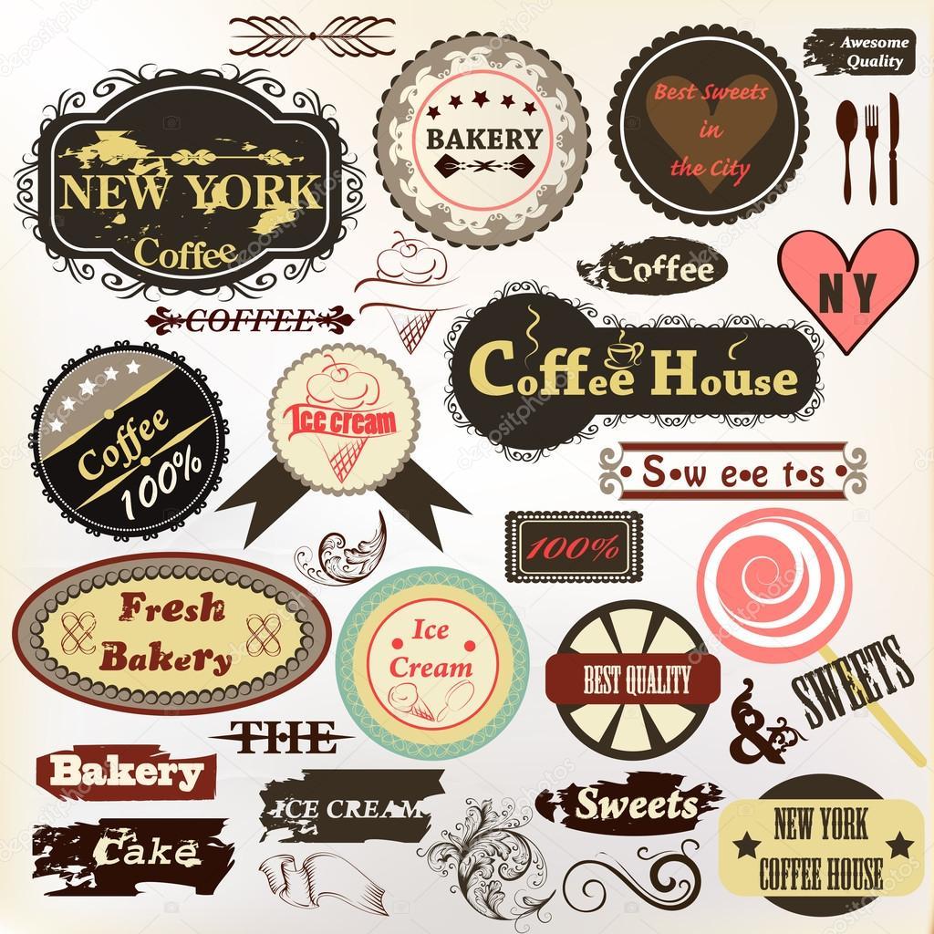 Sammlung von alten stil abzeichen oder etiketten kaffee haus bäckerei ein stockvektor