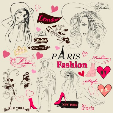 Collection of fashion elements, sketch, girls and signatures