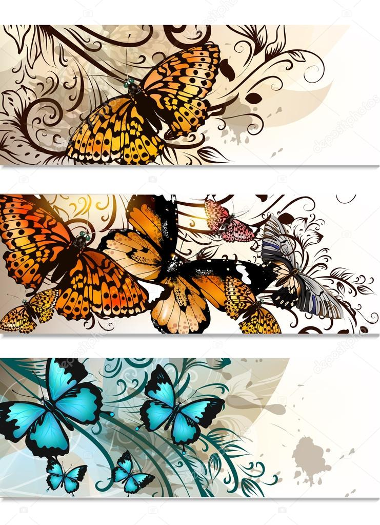 Business cards set with butterflies and floral ornament