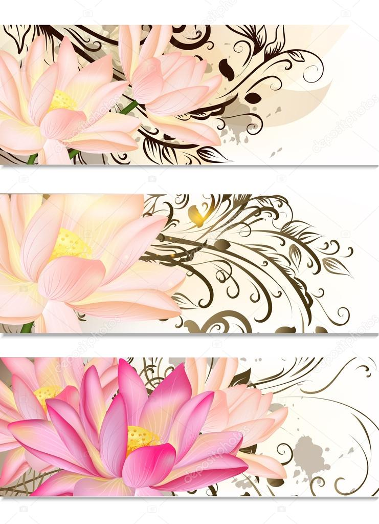 Business cards set with lotus flowers and swirl ornament stock business cards set with lotus flowers and swirl ornament stock vector mightylinksfo