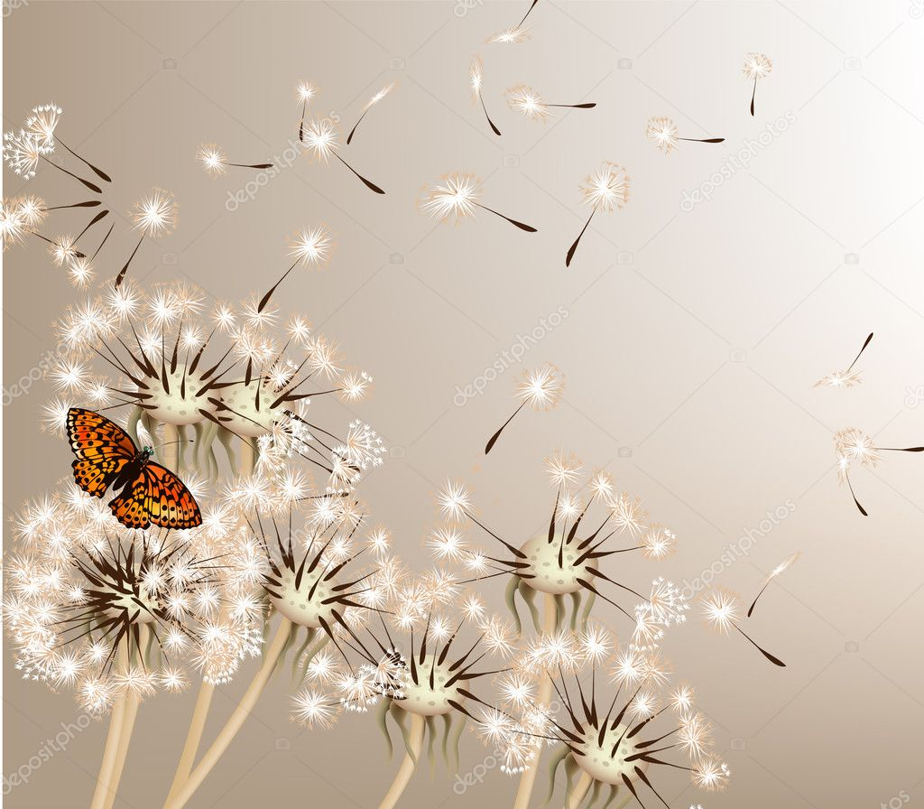 Abstract background with vector dandelions