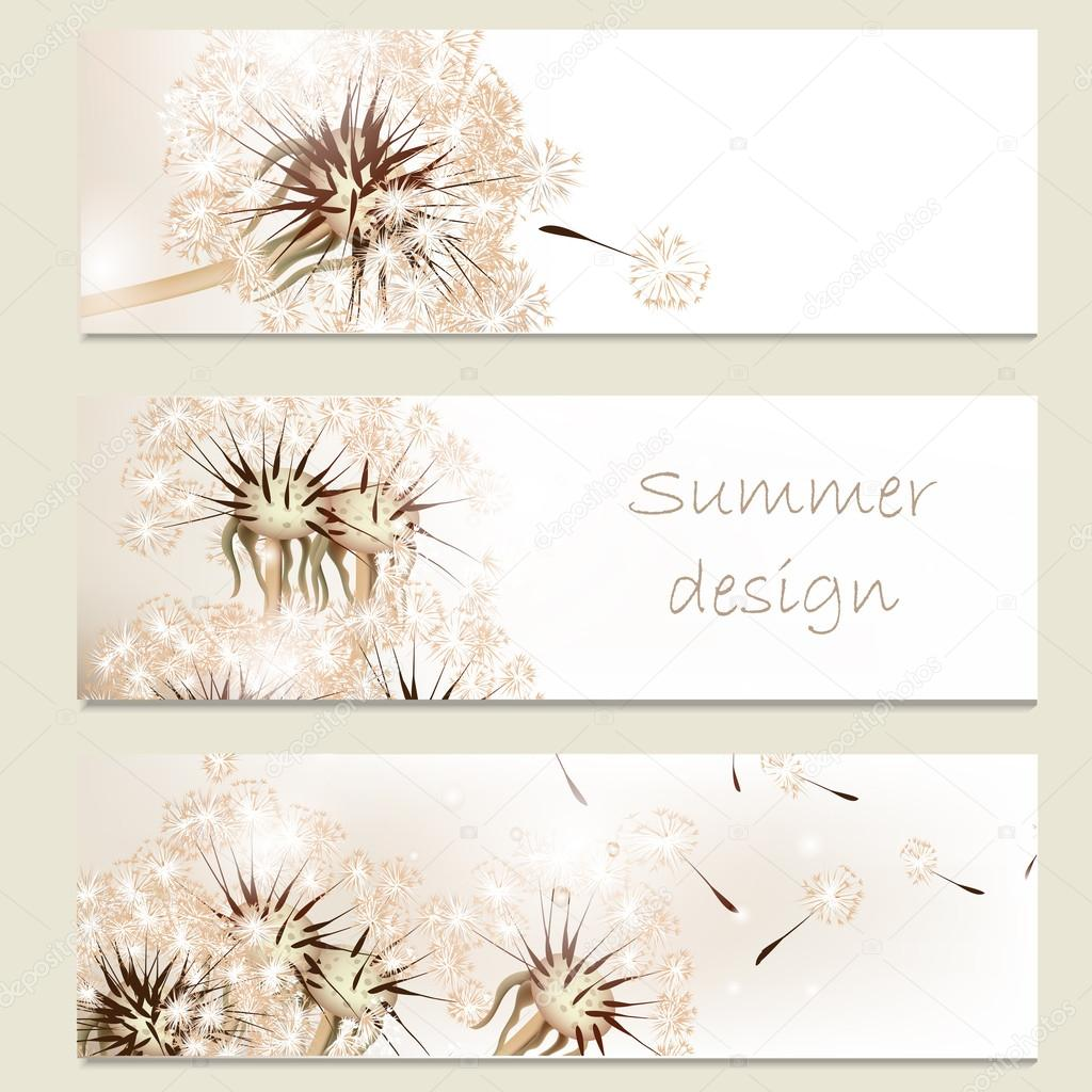 Abstract business vector cards set with dandelions for design