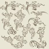 Vector set of vintage swirl ornaments for design