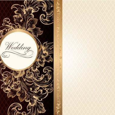 Luxury wedding invitation card in retro style with vintage ornam