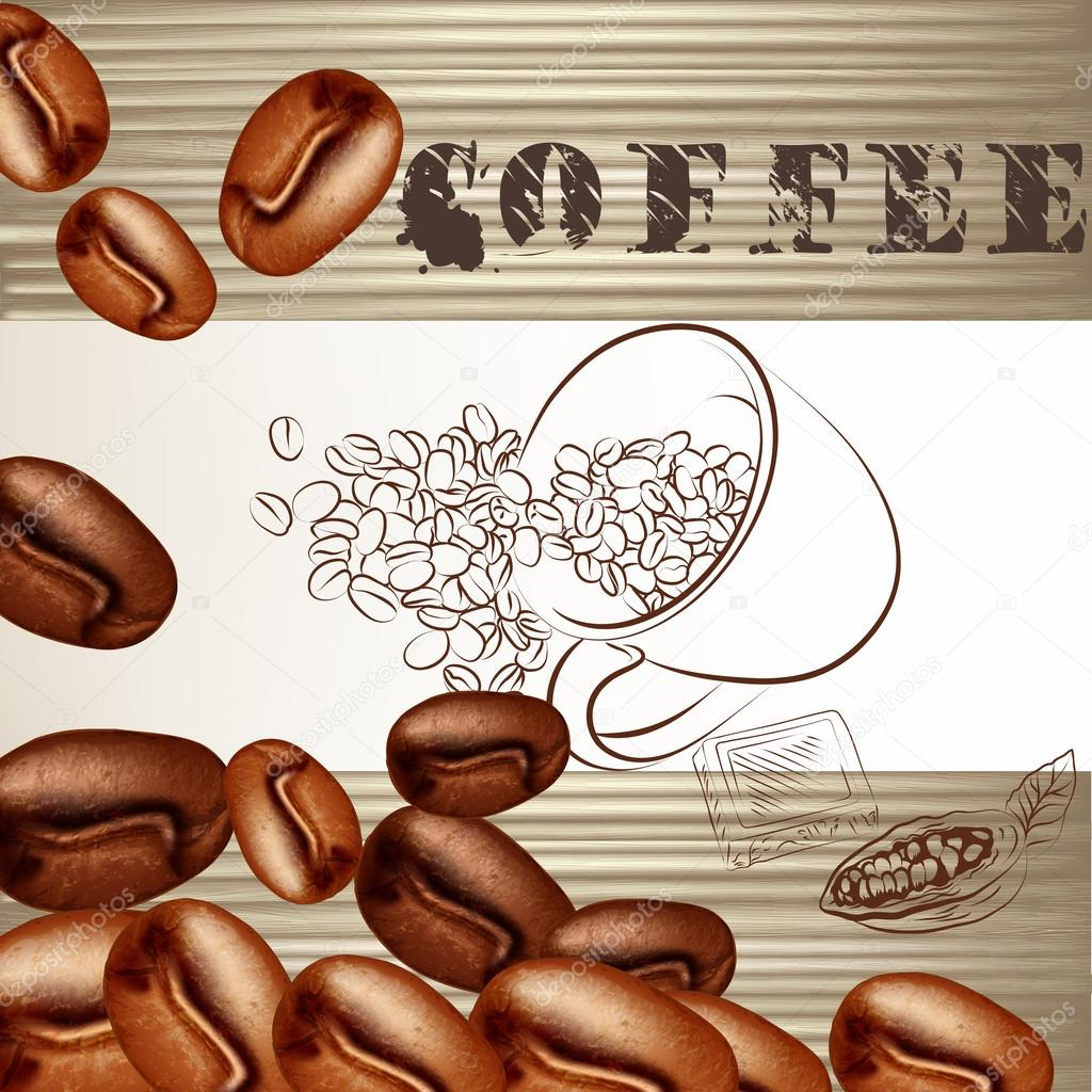 Coffee poster with frosted grains and wooden texture
