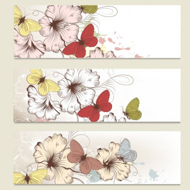 Brochure vector set in floral style with butterflies