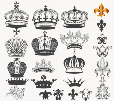 Collection of vector vintage royal crowns for design