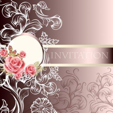 Elegant wedding invitation card in pastel tones
