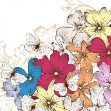 Fashion vector background with flowers