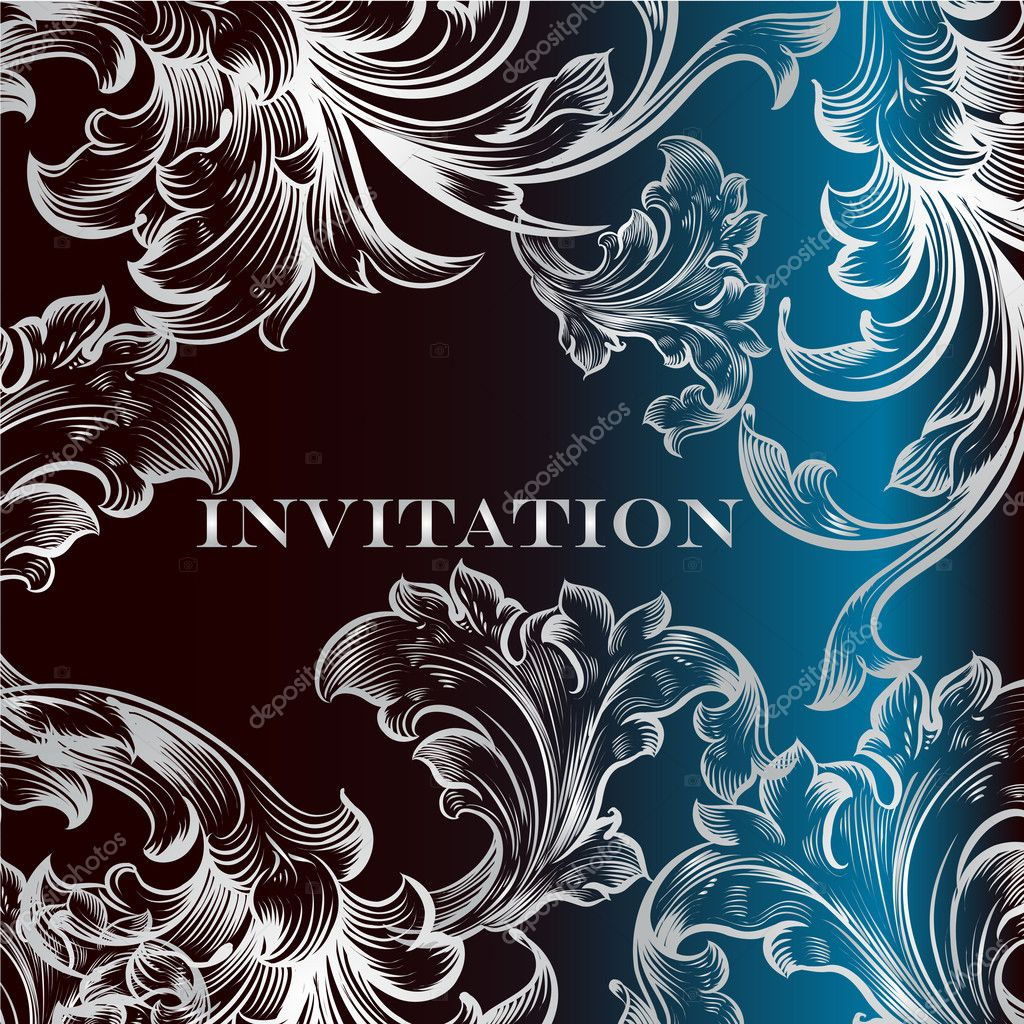 Elegant invitation card with ornament in deep blue