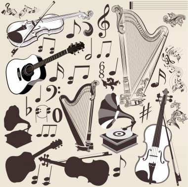 Vector set of detailed musical instruments for design
