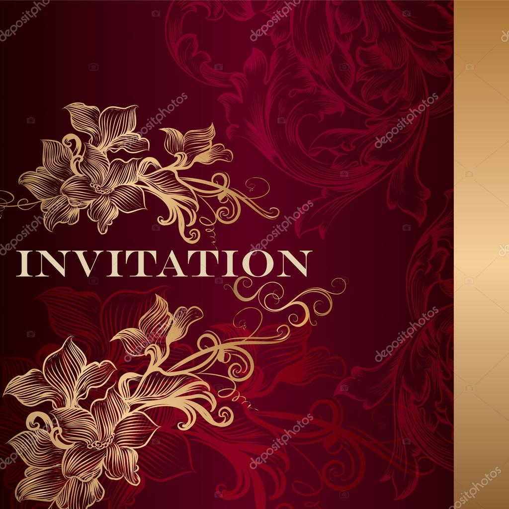 Luxury invitation card in vintage style — Stock Vector ...