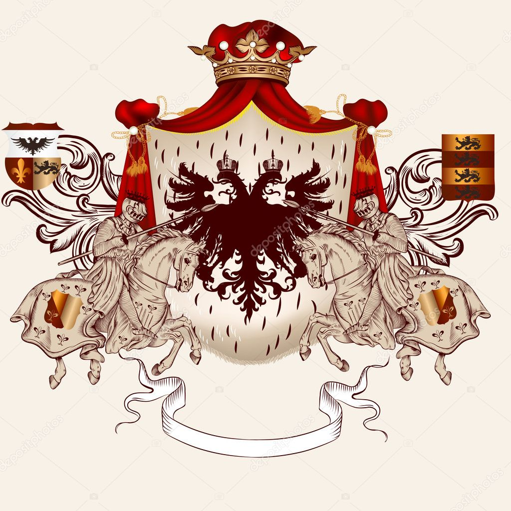 Heraldic design with coat of arms and horses