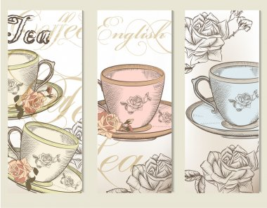 Brochure vector set with vintage cups of tea