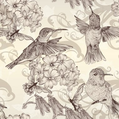 Beautiful vector seamless wallpaper with humingbirds in vintage