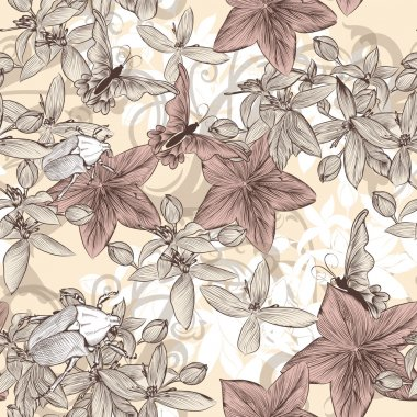 Seamless vector wallpaper pattern in vintage floral style