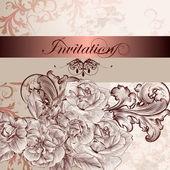 Esküvői meghívó, virág design
