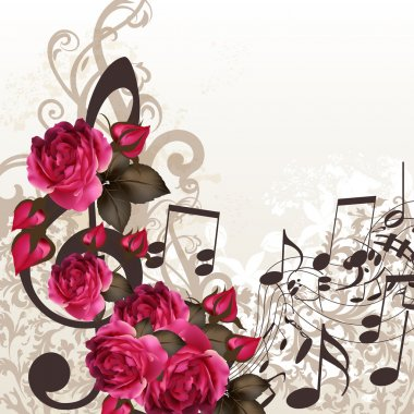 Music vector background with treble clef and roses for design