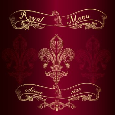 Royal menu design with fleur de lis