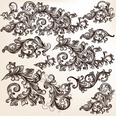 Collection of vector decorative floral swirls for design