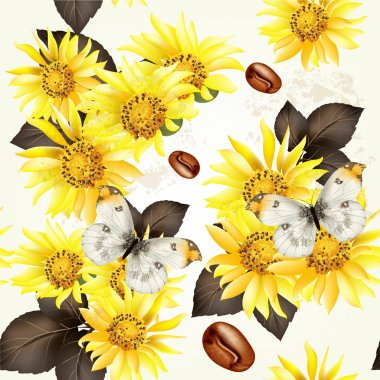 Seamless vector grunge wallpaper pattern with yellow flowers