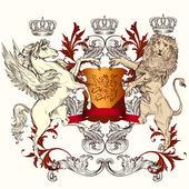 Fotografia Disegno araldico con scudo, cavallo alato e Leone