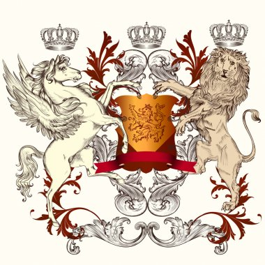 Heraldic design with shield, winged horse and lion